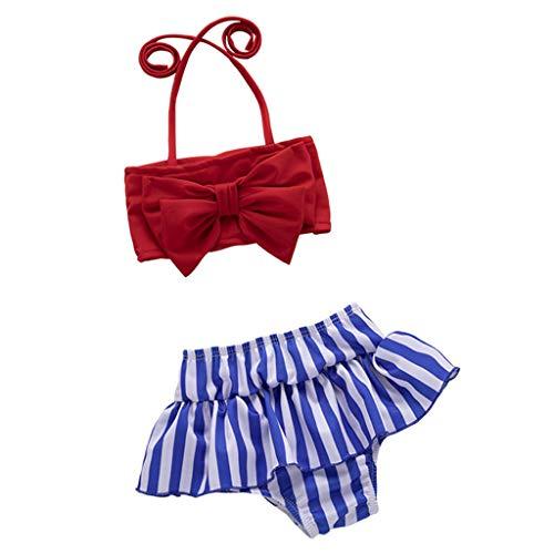 Kinderen Mouwloos Bow Badpakken, HROIJSL Bow Tie Badpak + Gestreepte Badpak Bikini Set Baby Meisjes Zwemmen Strandkleding
