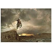 極端なスポーツオートバイレーサージャンプ壁アートポスターHdプリントキャンバス絵画家の装飾リビングルームアートワークギフト寝室の装飾-50x75CMフレームなし