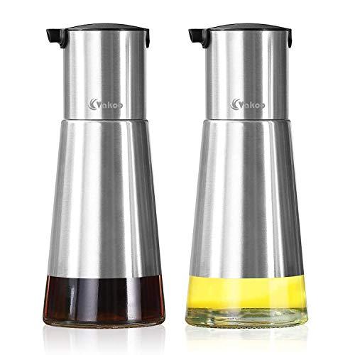 Kitchen Oil Dispenser, VAKOO Stainless Steel Olive Oil and Vinegar Dispenser Cruet Set with Elegant Glass Bottle and Drip Free Design