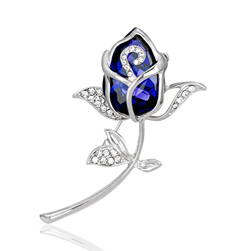 CHUYUN Crystal Rose Flower Brooch Pin Rhinestone Alloy Rose Gold Brooches Birthday Gift Garment Accessories (Blue)