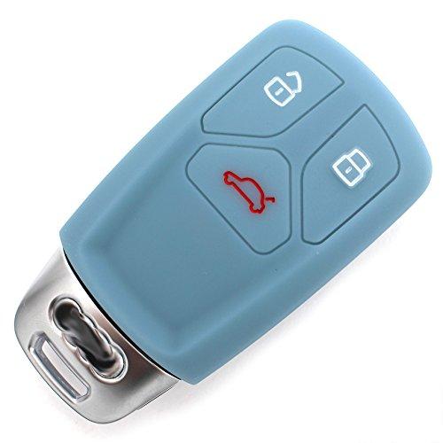 Finest-Folia Coque de Protection en Silicone pour clé de Voiture 3 Boutons Gris Cendre