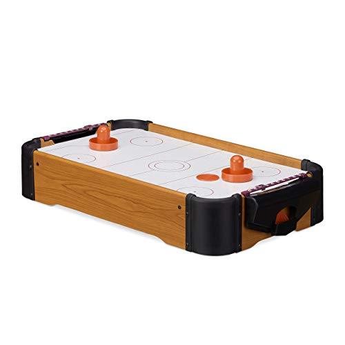 Relaxdays Airhockey Tischspiel, Tischairhockey mit Gebläse, Holz-Optik, inklusive Zubehör, B x T: 56 x 31 cm, braun