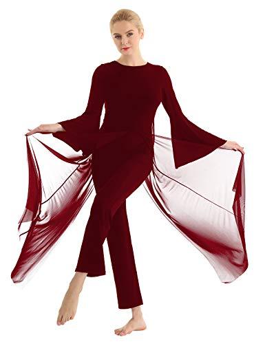 iixpin Damen Tanzkleid Elegante Moderne Dance Kleid Tüll Maxikleid mit Trompetenärmel Tanz Body Overalls Tanz Trikot Tanzkleidung Burgundy Small