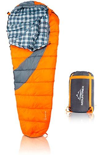 MOUNTREX® Schlafsack für Camping, Wandern und Backpacking; wasserabweisender, koppelbarer Outdoor Mumienschlafsack; 220x80 cm, orange