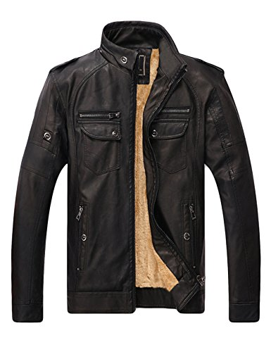 Bestgift Herren verdicken Samt Jacke Reißverschluss Stehkragen Faux Leder Jacke Bikerjacke Lederjacke Kunstleder Motorrad Zip Outwear Coats Schwarz XXL