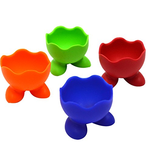 Buddy 4Pcs Silicone Egg Cups Colorful Breakfast...