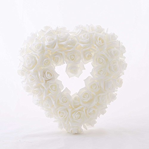 Hochzeitsdeko, Kunstblume, Rosenherz, Weiß, Schaumstoff, B: 40 cm | knuellermarkt.de | Taufe, Tischdeko Hochzeit, Kommunion, Konfirmation, Rosendeko