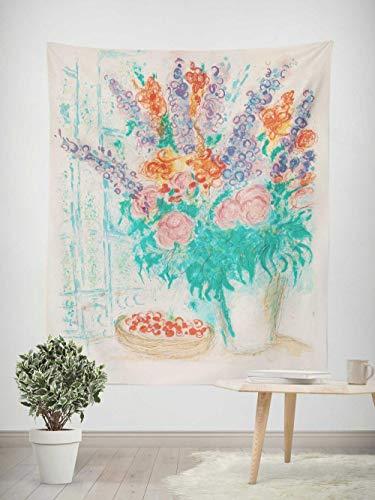 Tapiz - Adornos de Arte para Pared de Hogar, Pareo/Toalla de Playa Grande, Chic Decoración Habitacion 1 pieza, 130×150cm Pintura abstracta chagall ramo