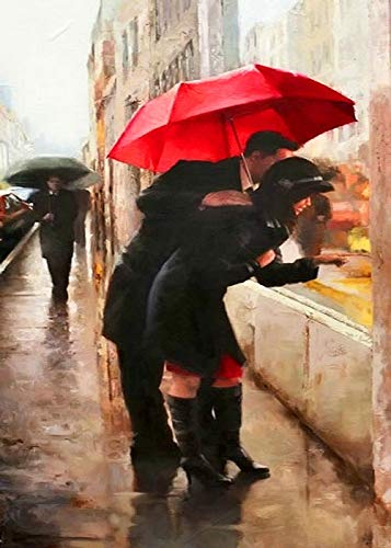 Liefde onder de paraplu, rood, knutselen, digitaal schilderen, 24 kleuren, schilderpenselen, handbeschilderd, olieverfschilderij, digitaal - 40 x 50 cm - Framed