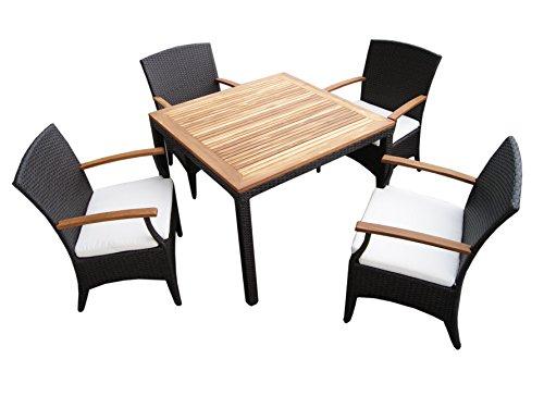 Mobili da giardino in rattan da giardino, 4p, set da tavolo per bambini con 4 sedie in rattan e legno di teak, design elegante, in rattan, colore: marrone scuro/ Naturale alluminio Weatherproof. frame. cushion. tabella. posti per sedie, per 4 persone