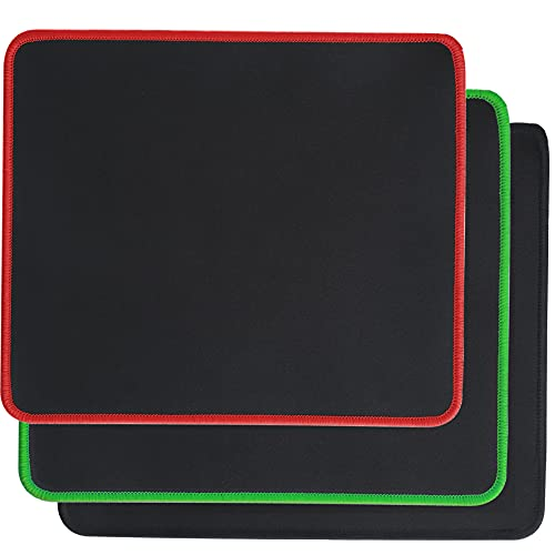Psitek Mouse Pad 10x8.5 Inches Laptop Gaming Mousepad Waterproof Cloth Surface, Anti-Fray Edges Black Red and Green 3 Packs