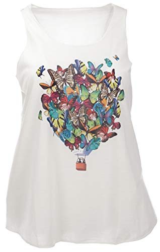 GURU SHOP Tanktop mit Farbigem Ethnodruck, Damen, Creme/Butterfly, Synthetisch, Size:38, Tops & T-Shirts Alternative Bekleidung