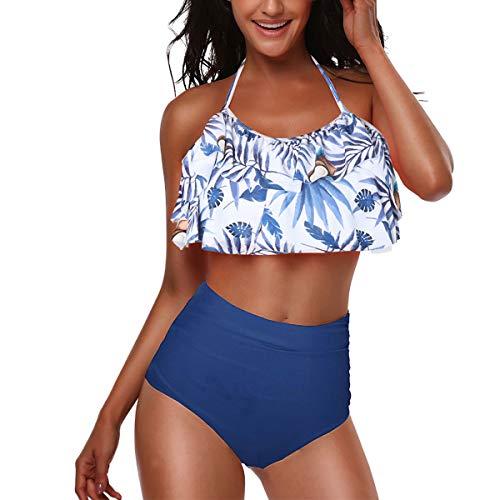 CheChury Conjunto de Bikini de Volantes Retro Vintage Mujer de Cintura Alta Traje de Baño de Dos Piezas Volantes Correas de Espagueti Bañador Plisado Estampado Floral Ropa de Playa Tallas Grandes