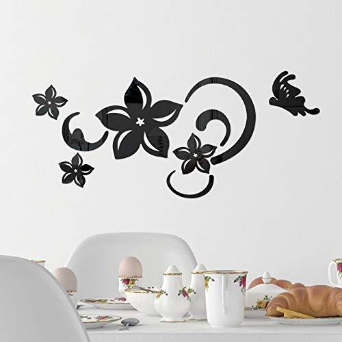 Hunpta @ Adhesivo decorativo para pared de espejo acrílico, diseño de mariposas, pegatinas de pared autoadhesivas removibles, papel de pared, decoración de pared para el hogar, dormitorio, sala de estar