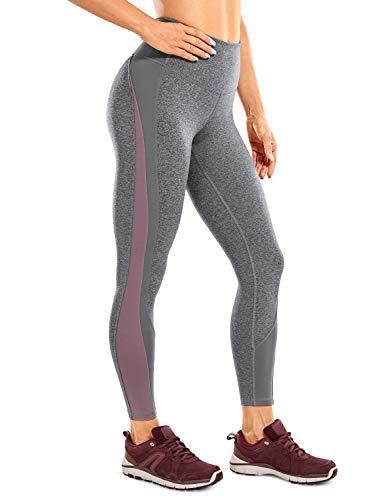 CRZ YOGA Mujer Color Block Yoga Leggings Mallas Cintura Alta Athletic Pantalones -63cm Doble Ceniza 42