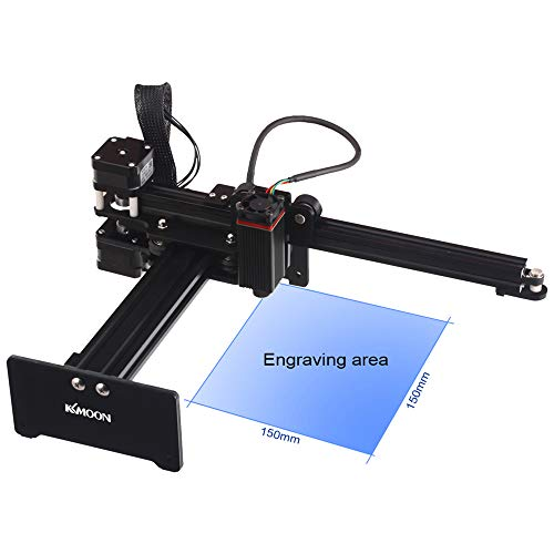 Desktop La-ser Engraver, KKmoon 7000mw Portable Engraving Machine Mini Carver for Metal Engraving and Deep Wood Engraving and Cutting,Working Area 150mmx150mm