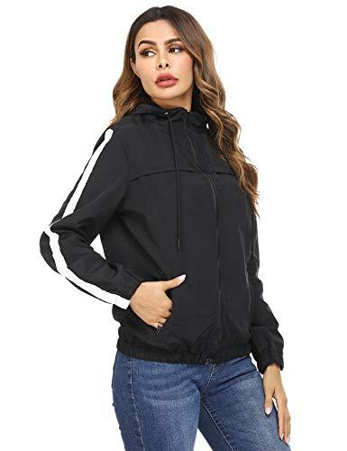 Akalnny Damen Leichte Regenjacke wasserdicht Kurze Windjacke mit Kapuze für den Außenbereich(Schwarz, L)