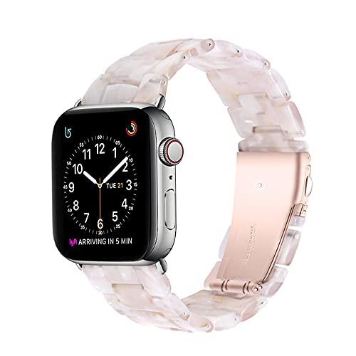 QINJIE Harzarmband Kompatibel mit Apple Watch 38mm 42mm, mit Edelstahlschnalle Damen Herren Armband Ersatz Armband,7,38MM