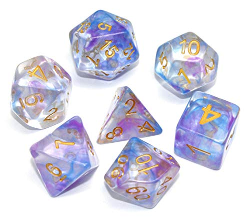 Handan Dice Set DND Polyhedral Dice for Dungeons and Dragons D&D RPG MTG Pathfinder Role Playing Game Table Games Dice Double Color Transparent Swirl Dice (Purple Blue)