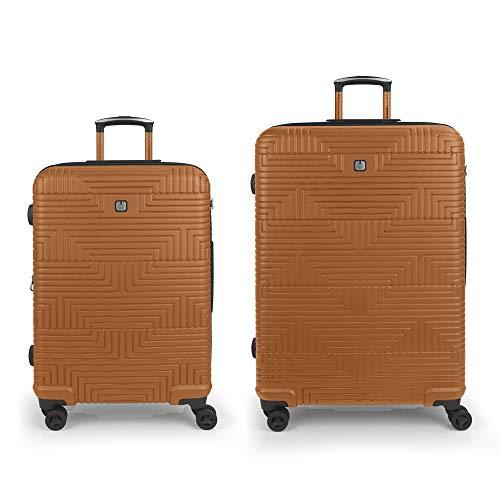 Gabol - Shock | Rigid Orange Travel Suitcase Set with Medium Trolley and Large Trolley