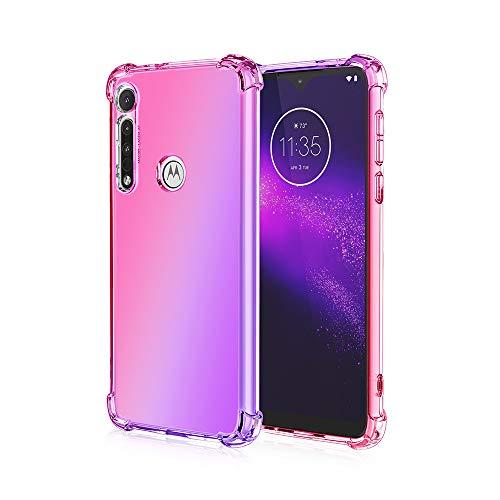 Dedux Cover per Motorola Moto G8 Plus, Custodia Trasparente Gradiente Protettivo TPU Case, Ultra Sottile Rinforzo a Quattro Angoli Cover (Rosa/Viola)