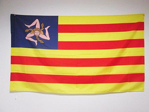 AZ FLAG Flagge SIZILIEN NATIONALISTEN 90x60cm - UNABHÄNGIGKEITS Fahne 60 x 90 cm Scheide für Mast - flaggen Top Qualität