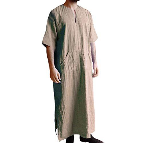 Lunga Camicia Uomo, Ethnic Robes Allentato Vintage Medioevo Caftano Pulsante T-Shirt con Tasche Manica Corta Tinta Unita Camicia