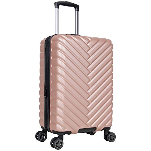 Kenneth Cole Reaction Women's Madison Square Hardside Chevron Expandable Luggage, Rose Gold, 20-Inch Carry On
