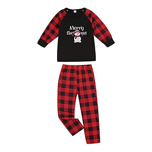 LSFYSZD Conjunto de pijama familiar de Navidad a juego de pijamas de Papá Noel a cuadros para...