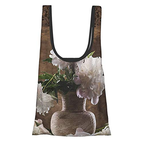 Peonies Peony Flowers Decor Floral Art Prints Leaves Ceramic Vase Romantic For Her White Brown Green Reusable Fold Eco-Friendly Shopping Bags
