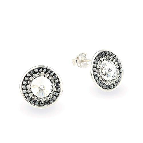 LA SENJA Round 925 Sterling Silver Stud Earrings for Women Made with Sparkly Black & White Crystals from Swarovski Handmade Jewelry