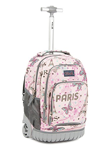 Tilami Kids Rolling Backpack 18 inch Boys and Girls Laptop Backpack, Pink butterfly