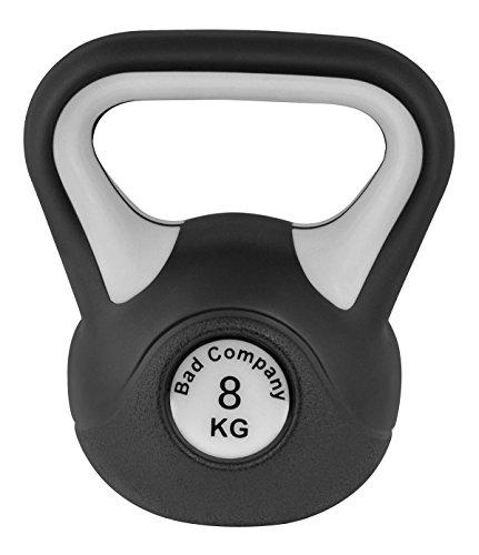 Bad Company Kettlebell als Set oder einzeln I 2 Kg – 20 Kg I Kunststoff Kugelhantel und Ablage-Rack I Schwunghantel Workout - Color Line (r - B&W 8 Kg)