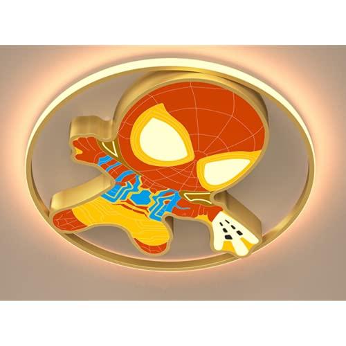 Plafón Led De Techo Niñas/Niños,Lámpara De Techo Regulable Con Mando A Distancia Para Habitación Infantil,Luz Blanca 24W Amarillo D45Cm * H5Cm Lámpara De Spiderman Moderna