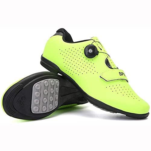 HYQW Zapatos Ciclismo, Zapatos Bicicleta De Carretera Ligeros Profesionales, Adultos Transpirables Antideslizantes para Bicicletas De Montaña Atlético Zapatos De Carreras VIIPOO,Green-38EU=(240mm)
