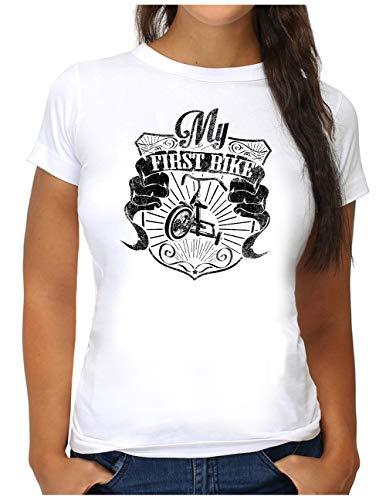 OM3® My-First-Bike T-Shirt | Damen | Mein erstes Fahrrad Fun Trike Dreirad | S, Weiß