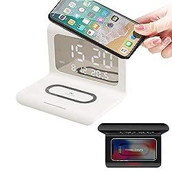 Digital Alarm Clock with Wireless Phone Charger,Creative Qi Wireless Phone Charging Station with Digital Alarm Clock 10W,Compatible with iPhone 11 11 pro 11 Pro Max Xs X Max XR X 8 8Plus (White)
