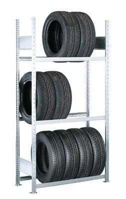 SCHULTE Reifenregal, verzinkt, BxTxH 1500x400x2000 mm, 3 Ebenen, Anbauregal [zum Anbau an Grundregal; nicht alleine standfähig!]