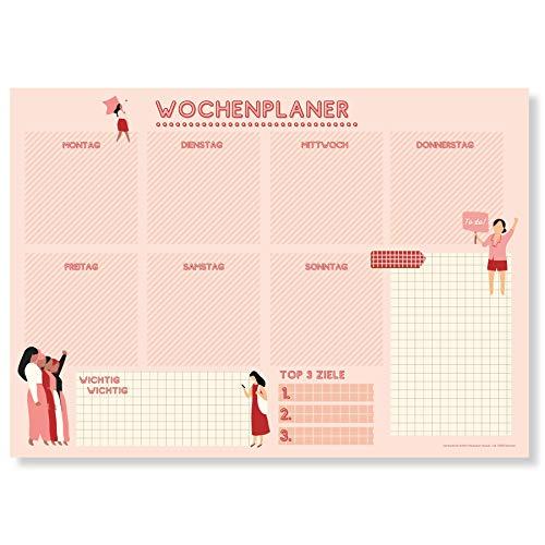 Wochenplaner Block A4 (50 Blatt) - Ohne festes Datum - Schreibtischunterlage mit ToDo Liste - Wochen Planer Wochenkalender aus Papier - Weekly Planner Undatiert - Terminplaner - Wochenplan - Girlpower