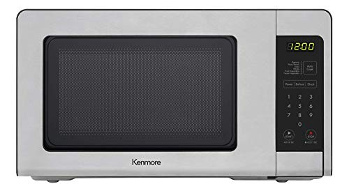 Kenmore 70723 0.7 cu. ft Compact 700 Watts 10 Power Settings, 6 Heating Presets, Removable Turntable, ADA Compliant Small Countertop Microwave, Stainless Steel (Renewed)
