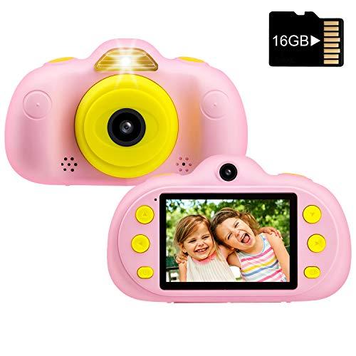 LifeBasis Kinderkamera, 1080P HD Kinder Digital Foto Videokamera mit 16GB TF Karte, stoßfeste Spielkamera 2,4 Zoll Bildschirm Dual Selfie Camcorder mit Schlüsselband für Kinder Geschenke Rosa