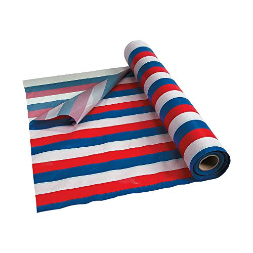 Blue, White & Red Striped Tablecloth (French Bastille day (100 ft)