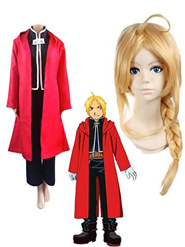HAOJUE Disfraz de Alquimista de Anime Fullmetal, disfraz de Edward Elric Cosplay Pelucas Roja Capa para Adultos Performance Ropa de Halloween (color: peluca y disfraz, talla: S)