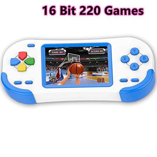 Bornkid Console di Gioco Portatile per Bambini Videogioco retrò Classico HD 220 Incorporato Display da 3 Pollici Sistema Arcade Ricaricabile Regalo di Compleanno per Bambini Anziani (Blu)