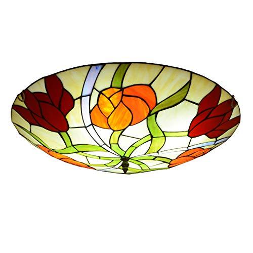 ZMLG LED Deckenleuchte, Glas Tiffany Landhausstil Deckenlampe Küche Blumenmuster Handgearbeiteter Lampenschirm aus Glas Dekorativer Beleuchtung für Wohnzimmer Esszimmer Schlafzimmer,Ø30cm