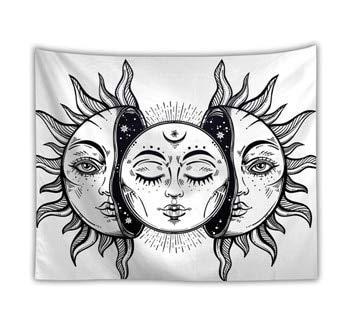KHKJ Tapiz de Tarot para Colgar en la Pared The Moon The Star Tapices Manta Colcha Toallas de Playa Estera de Picnic A4 180x200cm