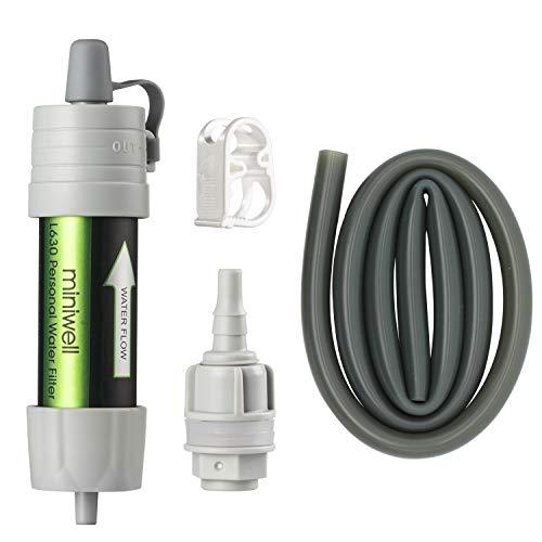 miniwell Schwerkraft-Wasserfilter, Strohhalm, ultraleicht, vielseitig, Wasserfilter, optionales Zubehör TÜV-geprüftes Notfall-Set Hurricane Storm Supplies.