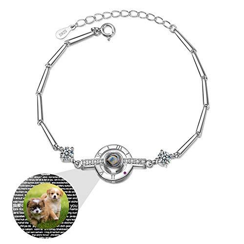 Pulsera De Plata 925 I Love You 100 Idiomas Con Foto Brazalete Con Imagen Personalizada Para Mujer Compromiso De Cumpleaños Collar Del Día De La Madre Pulsera (Silver16-5.7+1.97)