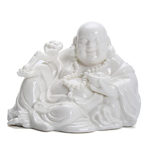 MDROGKUX Porcelana Blanca Maitreya Buddha Auto Parts Interior Home Dormitorio Sala de Estudio Sala de Estar Oficina Decoración de Escritorio