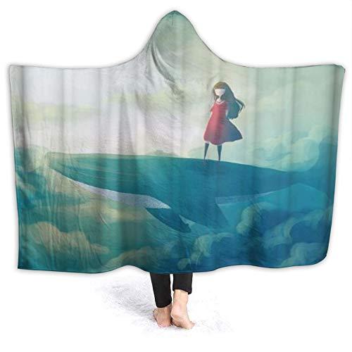 HATESAH Tragbare Hoodie Decke,Kindermärchen Thema EIN kleines Mädchen im roten Kleid Steht auf Hai mit grünen Wolken,Umhang Druck Grafik warm für den Winter 80 * 60